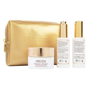 Essential Skin Care Routine, Pochette con LiftCream Crema Viso Anti-Rughe, LiftBooster Siero Filler e LiftSerum Siero Viso Anti-Age con Acido Ialuronico e Vitamina C